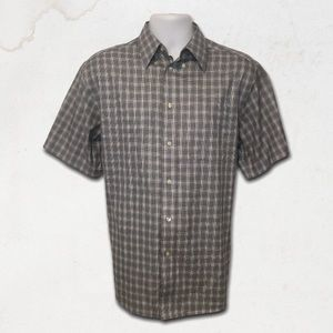 KIRKLAND Grey Plaid Short Sleeves Dress Shirt